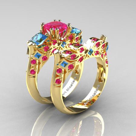Classic-14K-Yellow-Gold-Three-Stone-Princess-Pink-Sapphire-Blue-Topaz-Diamond-Ring-Wedding-Band-Set-R500S-YGBTPS-P