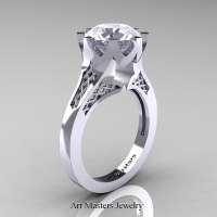 Modern 14K White Gold 3.0 Carat White Sapphire Crown Solitaire Wedding Ring R580-14KWGWS
