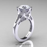 Modern 14K White Gold 3.0 Carat White Sapphire Crown Solitaire Wedding Ring R580-14KWGWS