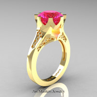 Modern-14K-Yellow-Gold-3-Carat-Pink-Sapphire-Crown-Solitaire-Wedding-Ring-R580-14KYGPS-P