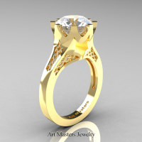Modern 14K Yellow Gold 3.0 Carat White Sapphire Crown Solitaire Wedding Ring R580-14KYGWS