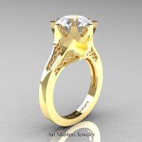 Modern 14K Yellow Gold 3.0 Carat White Sapphire Crown Solitaire Wedding Ring R580-14KYGWS