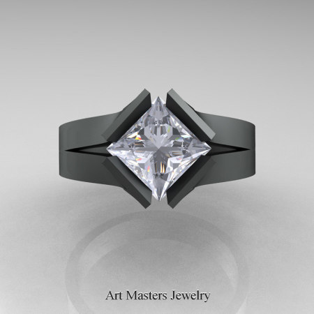 Neomodern-14K-Matte-Black-Gold-1-5-Carat-Princess-White-Sapphire-Engagement-Ring-R389-14KMBGWS-T