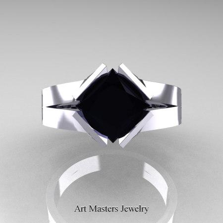 Neomodern-14K-White-Gold-1-5-Carat-Princess-Black-Diamond-Engagement-Ring-R389-14KWGBD-T