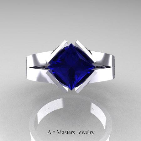 Neomodern-14K-White-Gold-1-5-Carat-Princess-Blue-Sapphire-Engagement-Ring-R389-14KWGBS-T