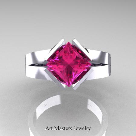 Neomodern 14K White Gold 1.5 CT Princess Pink Sapphire Engagement Ring R389-14KWGPS