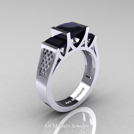 Princess-14K-White-Gold-1.5-Carat-Princess-Black-Diamond-Modern-Engagement-Ring-R387-14KWGBD-P