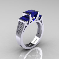 Modern 14K White Gold 1.5 Carat Princess Blue Sapphire Engagement Ring R387-14KWGBS - Perspective