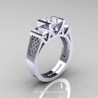 Modern 14K White Gold 1.5 Carat Princess White Sapphire Engagement Ring R387-14KWGWS - Perspective