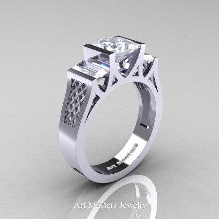 Princess-14K-White-Gold-1.5-Carat-Princess-White-Sapphire-Modern-Engagement-Ring-R387-14KWGWS-P