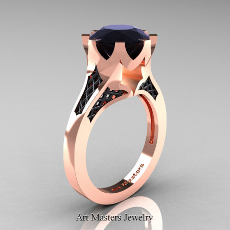 Renaissance-14K-Rose-Gold-3-Carat-Black-Diamond-Crown-Solitaire-Wedding-Ring-R580-14KRBGBD-P
