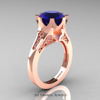 Modern 14K Rose Gold 3.0 Carat Blue Sapphire Crown Solitaire Wedding Ring R580-14KRGBS