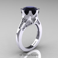 Modern 14K White Gold 3.0 Carat Black Diamond Crown Solitaire Wedding Ring R580-14KWGBD - Perspective