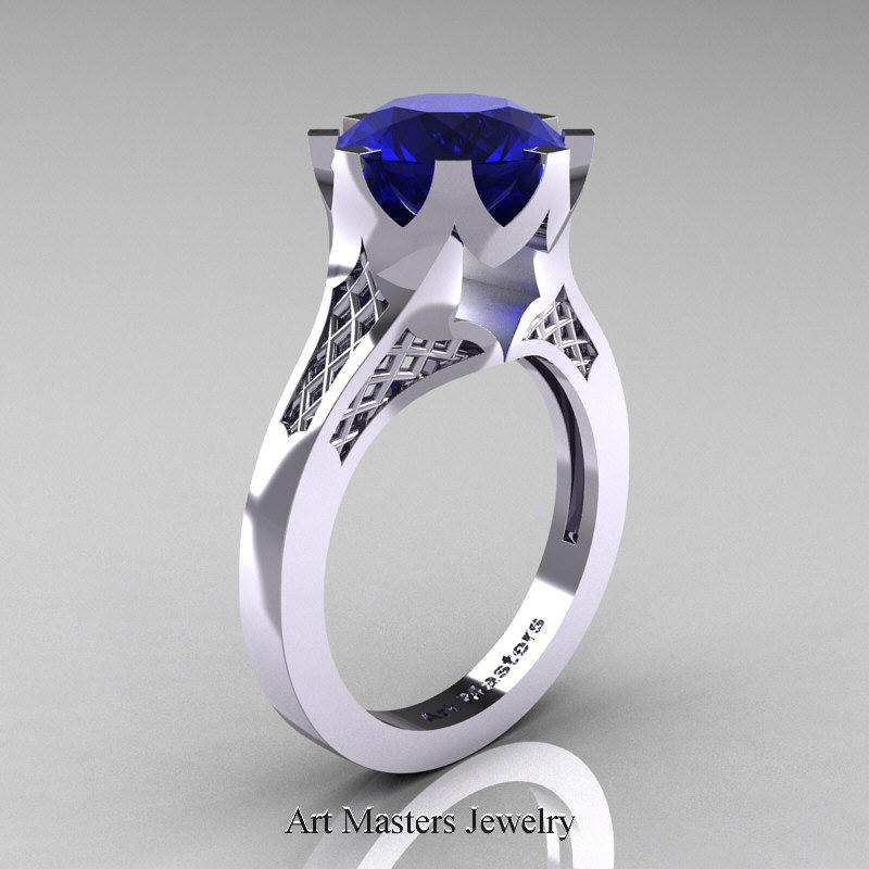 Renaissance 14K White Gold 3 Carat Blue Sapphire