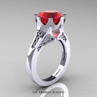 Modern 14K White Gold 3.0 Carat Ruby Crown Solitaire Wedding Ring R580-14KWGR - Perspective