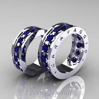Caravaggio Modern 14K White Gold Princess Blue Sapphire Wedding Band Set R313S-14KWGBS