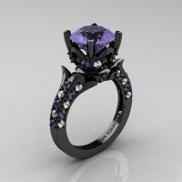 Classic French 14K Black Gold 4.0 Carat Light Tanzanite Diamond Solitaire Wedding Ring R401-14KBGDLTT Perspective
