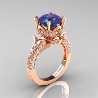 Classic French 14K Rose Gold 3.0 Carat Chrysoberyl Alexandrite Diamond Solitaire Wedding Ring R401-14KRGDAL Perspective