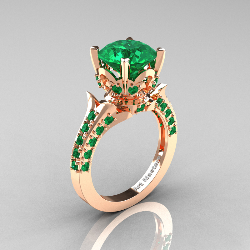 Classic French 14K Rose Gold 3 0 Carat Emerald Solitaire Wedding