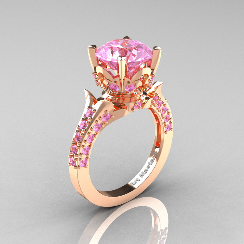 Classic French 14K Rose Gold 3.0 Carat Light Pink Sapphire Solitaire  Wedding Ring R401 14KRGLPS