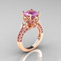 Classic French 14K Rose Gold 3.0 Carat Lilac Amethyst Solitaire Wedding Ring R401-14KRGLAM