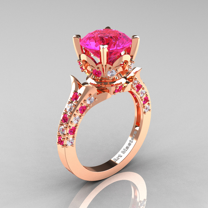 Rose Gold Wedding Ring.Classic French 14k Rose Gold 3 0 Carat Pink Sapphire Diamond Solitaire Wedding Ring R401 14krgdpss