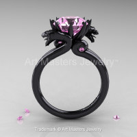 Art Masters 14K Black Gold 3.0 Ct Light Pink Sapphire Dragon Engagement Ring R601-14KBGLPS