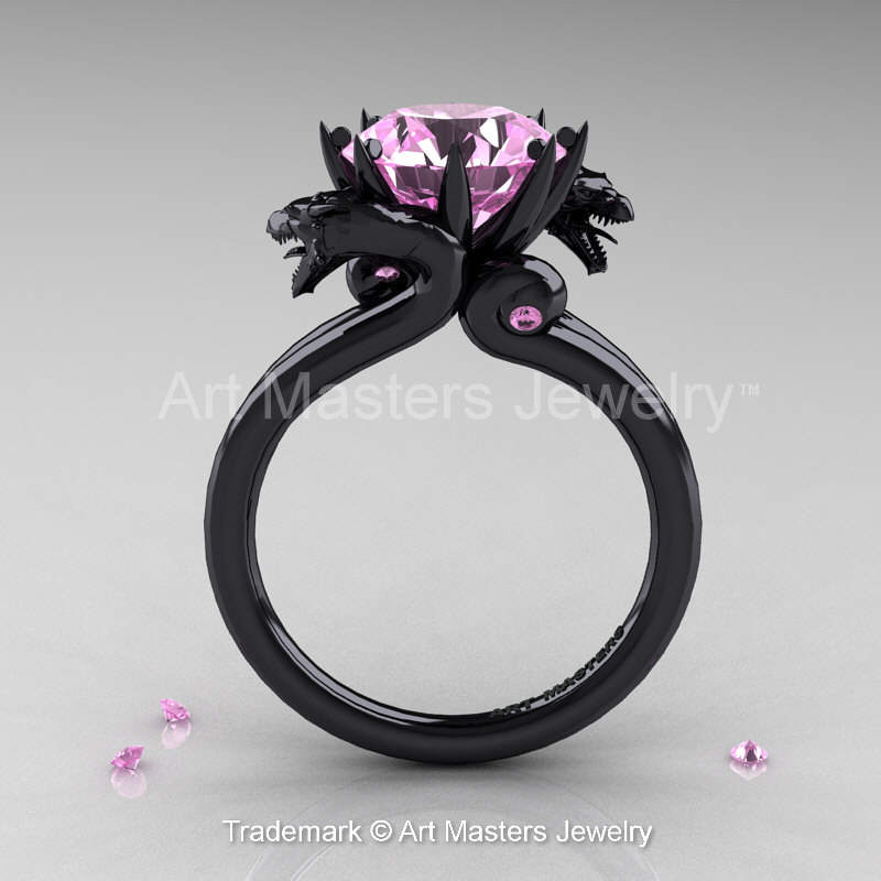 Art Masters 14K Black Gold 30 Ct Light Pink Sapphire Dragon Engagement Ring R601 14KBGLPS