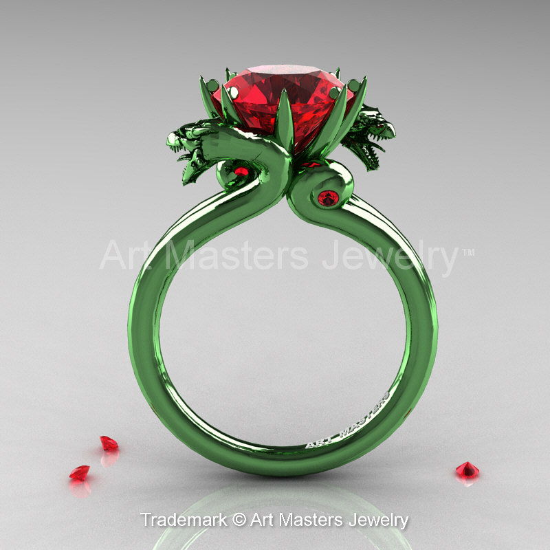 art masters 14k green gold 30 ct rubies military dragon engagement ring r601 14kggr - Green Wedding Rings