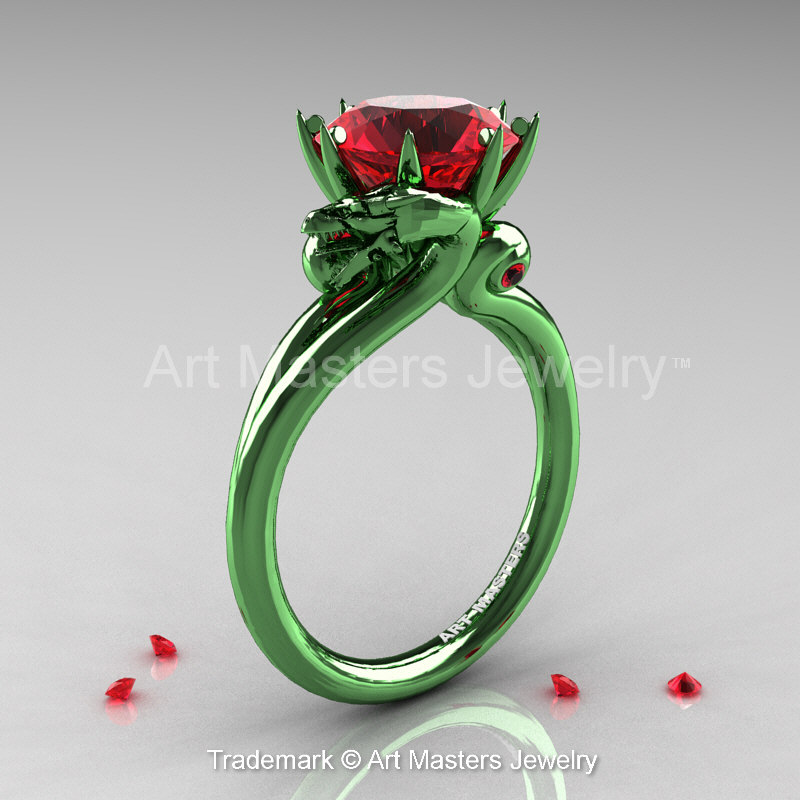 Art Masters 14K Green Gold 30 Ct Rubies Military Dragon Engagement