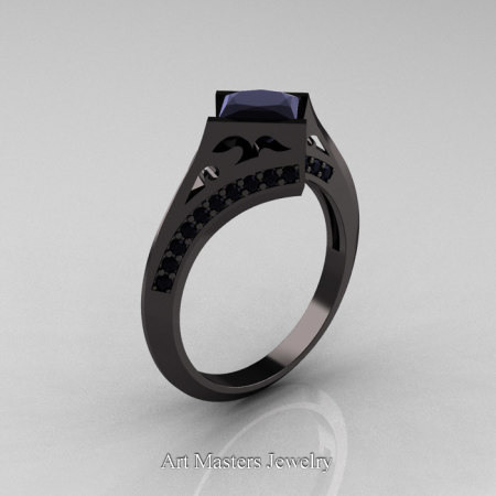 Exclusive French 14K Black Gold 1.5 CT Princess Black Diamond Engagement Ring R176-14KBGBD