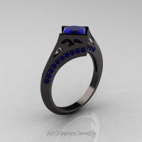 Exclusive French 14K Black Gold 1.5 CT Princess Blue Sapphire Engagement Ring R176-14KBGBS Perspective