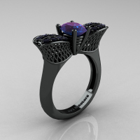 Nature Inspired 14K Black Gold 1.0 Ct Oval Chrysoberyl Alexandrite Black Diamond Bee Wedding Ring R531-14KBGBDAL Perspective