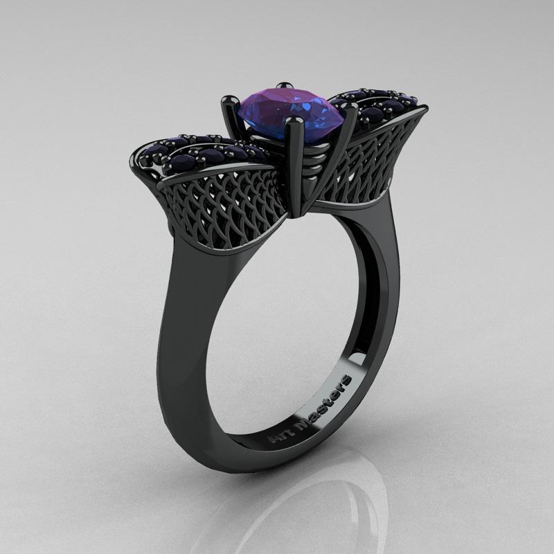 Nature Inspired 14K Black Gold 1.0 Ct Oval Chrysoberyl Alexandrite Black  Diamond Bee Wedding Ring R531