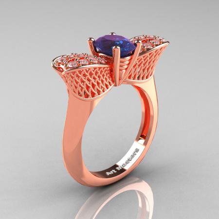 Nature Inspired 14K Rose Gold 1.0 Ct Oval Chrysoberyl Alexandrite Diamond Bee Wedding Ring R531-14KRGDAL