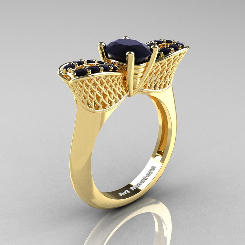 Nature Inspired 14K Yellow Gold 1 0 Ct Oval Black Diamond Bee