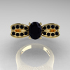 Nature Inspired 14K Yellow Gold 1.0 Ct Oval Black Diamond Bee Wedding Ring R531-14KYGBD