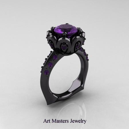 Galatea Classic 14K Black Gold 3.0 Ct Lavender Amethyst Wedding Ring AR114-14KBGAM