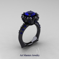 Galatea Classic 14K Black Gold 3.0 Ct Blue Sapphire Wedding Ring AR114-14KBGBS