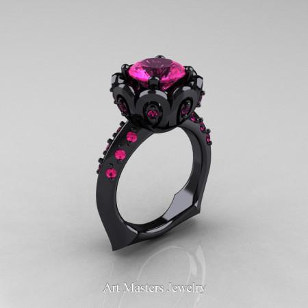 Galatea Classic 14K Black Gold 3.0 Ct Pink Sapphire Wedding Ring AR114-14KBGPS