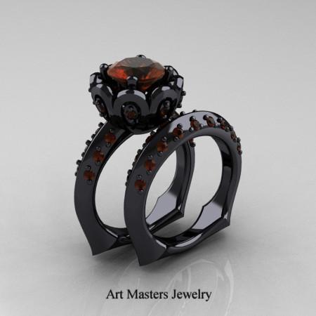 Galatea Classic 14K Black Gold 3.0 Ct Brown Diamond Wedding Ring Wedding Band Bridal Set AR114S-14KBGBRD