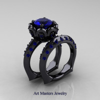 Galatea Classic 14K Black Gold 3.0 Ct Blue Sapphire Wedding Ring Wedding Band Bridal Set AR114S-14KBGBS