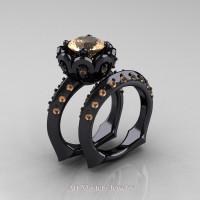 Galatea Classic 14K Black Gold 3.0 Ct Champagne Diamond Wedding Ring Wedding Band Bridal Set AR114S-14KBGCHD