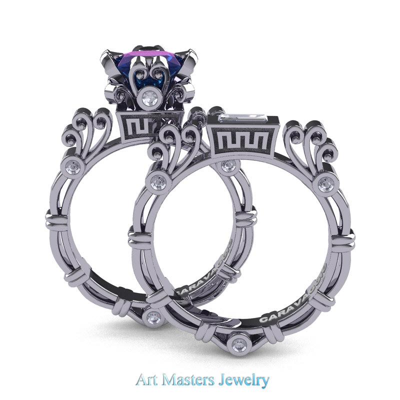 8b43e145c Art Masters Caravaggio 14K White Gold 1.5 Ct Princess Alexandrite White  Sapphire Diamond Engagement Ring Wedding ...