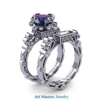 Art Masters Caravaggio 14K White Gold 1.5 Ct Princess Alexandrite White Sapphire Diamond Engagement Ring Wedding Band Set R627S-14KWGDWSAL