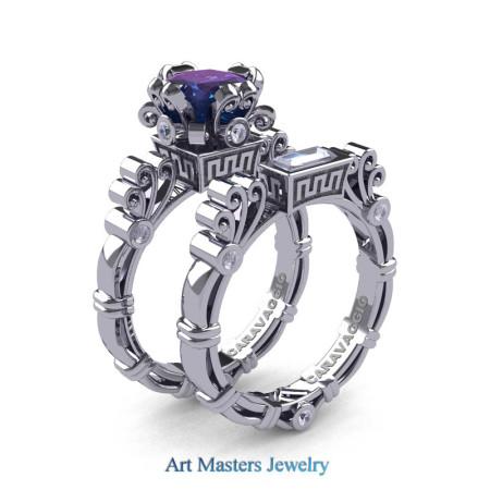 Art Masters Caravaggio 14K White Gold 1.5 Ct Princess Alexandrite White Sapphire Diamond Engagement Ring Wedding Band Set R627S-14KWGDWSAL