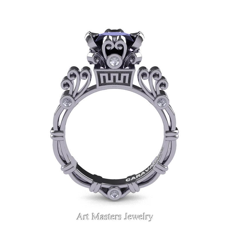 e63b03b6f Art Masters Caravaggio 14K White Gold 1.5 Ct Princess Black and White  Diamond Engagement Ring R627 ...