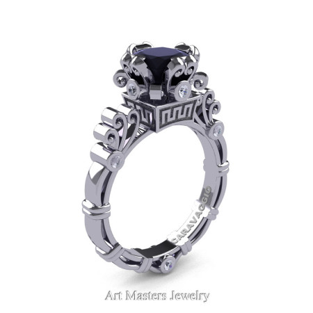 Art Masters Caravaggio 14K White Gold 1.5 Ct Princess Black and White Diamond Engagement Ring R627-14KWGDBD