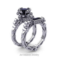 Art Masters Caravaggio 14K White Gold 1.5 Ct Princess Black and White Diamond Engagement Ring Wedding Band Set R627S-14KWGDBD