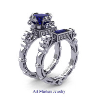 Art Masters Caravaggio 14K White Gold 1.5 Ct Princess Blue Sapphire Diamond Engagement Ring Wedding Band Set R627S-14KWGDBS